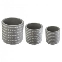 Lot de 3 pots 3D - Gris clair
