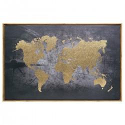 Toile encadrée et imprimée carte du monde - Détail doré