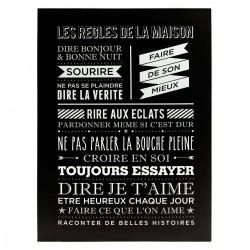 Toile encadrée 58X78cm LES RÈGLES DE LA MAISON - Noir