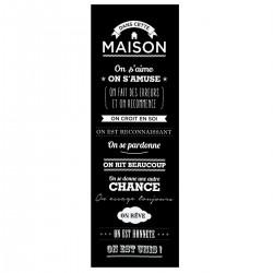 Toile à imprimé DANS CETTE MAISON 30X90cm - Noir
