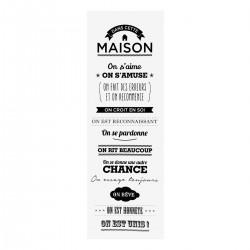Toile à imprimé DANS CETTE MAISON 30X90cm - Blanc