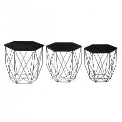 Lot de 3 tables à café octogonales KUMI - Noir