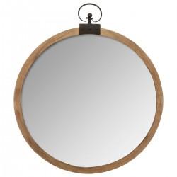 Miroir en bois à gousset D74cm VINTAGE LOFT - Marron