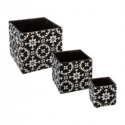 Lot de 3 pots en ciment THE COLONIAL FACTORY - Noir et blanc
