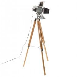 Lampadaire projecteur sur trépied en bambou H139cm GURI - Beige