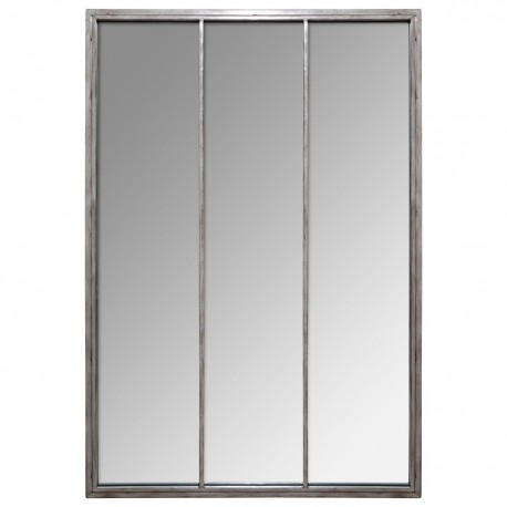 Miroir en métal H110cm SULLY - Argent