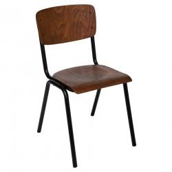 Chaise d'écolier KIEL, THE COLONIAL FACTORY - Marron effet bois