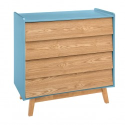 Commode à 4 tiroirs ELVA, COSY'NESS - Bleu