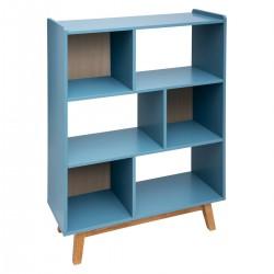 Étagère en bois à 6 cases ELVA, COSY'NESS - Bleu