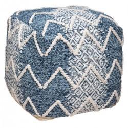Pouf carré en tissu TERRE SAUVAGE - Bleu et blanc