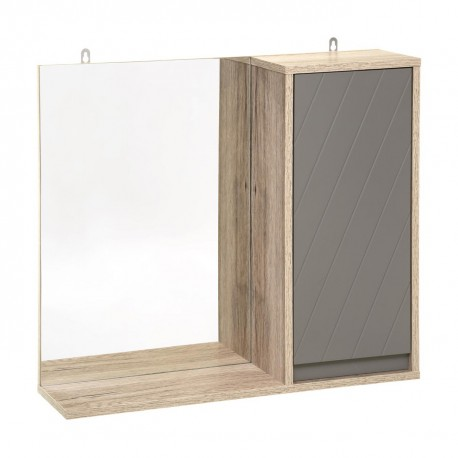 Meuble haut avec miroir de salle de bain ELDA - Bois et gris