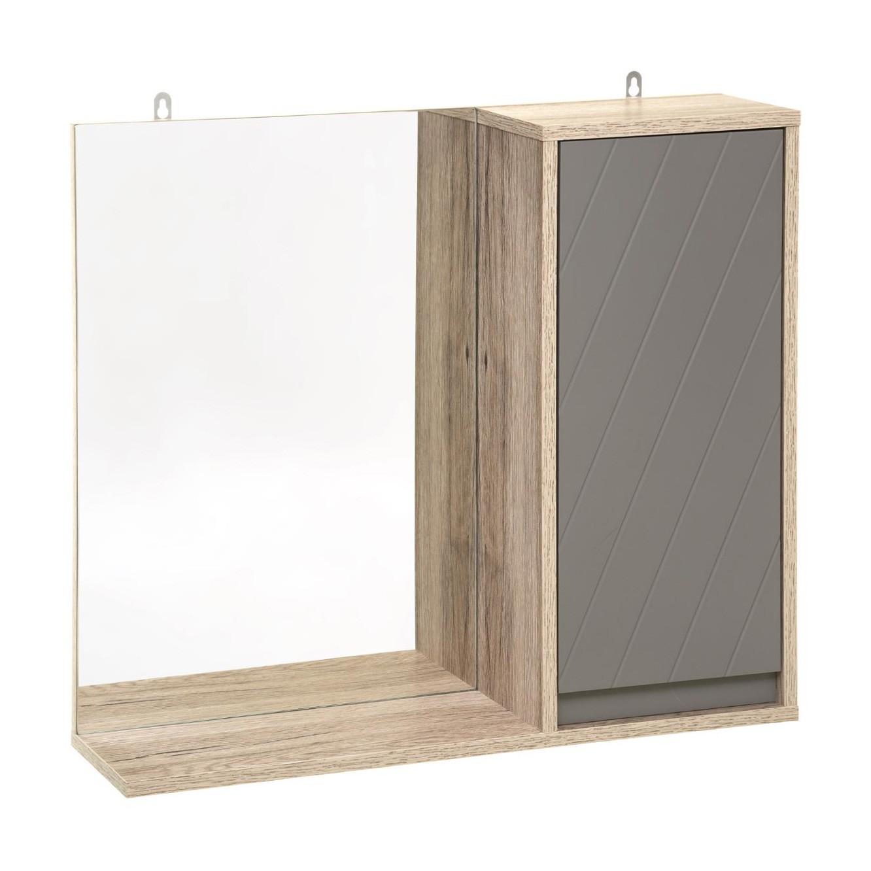 Meuble Avec Panier A Linge meuble haut avec miroir de salle de bain elda - bois et gris