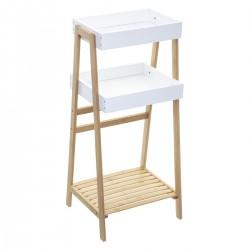 Étagère à 2 niveaux avec porte serviette LÉA - Blanc et bois