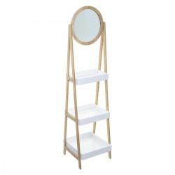Étagère à 3 niveaux avec un miroir LÉA - Blanc et bois