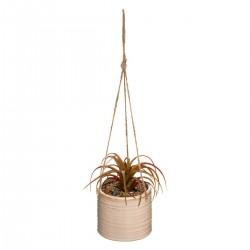 Suspension en céramique avec plante artificielle H13cm TERRE SAUVAGE - Beige