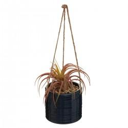 Suspension en céramique avec plante artificielle H13cm TERRE SAUVAGE - Bleu nuit