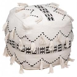 Pouf carré en tissu avec pompons TERRE SAUVAGE - Blanc