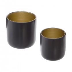 Lot de 2 pots en céramique ARCHI FÉMININ - Anthracite