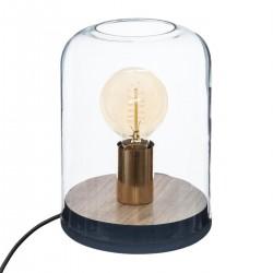 Lampe dôme en bois H23cm COSY'NESS - Bleu nuit