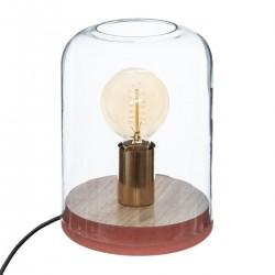 Lampe dôme en bois H23cm COSY'NESS - Rose