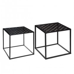 Lot de 2 tables à café PEACOCK - Noir et doré