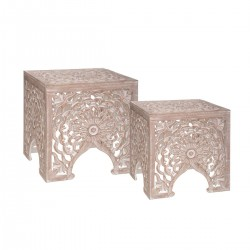 Lot de 2 tables d'appoint TERRE SAUVAGE - Beige