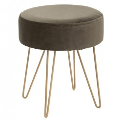Tabouret effet velours THE COLONIAL FACTORY - Kaki