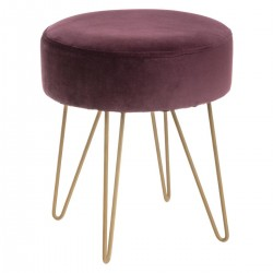Tabouret effet velours THE COLONIAL FACTORY - Prune