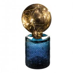 Lampe tube en verre 10 LED H22cm ATELIER D'HIVER - Bleu