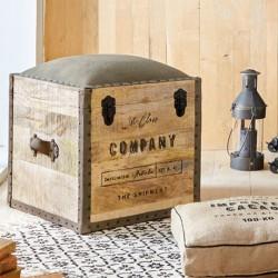 Pouf malle THE COLONIAL FACTORY - Bois et marron