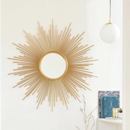 Miroir soleil à tubes D99cm - Doré
