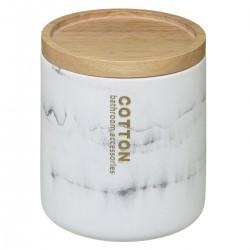 Pot à cotons en polyrésine LÉA - Blanc et beige