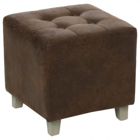 pouf effet cuir leandre marron veo shop. Black Bedroom Furniture Sets. Home Design Ideas