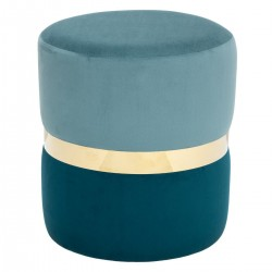 Pouf en velours bicolore à ceinture dorée ARCHI FÉMININ - Bleu