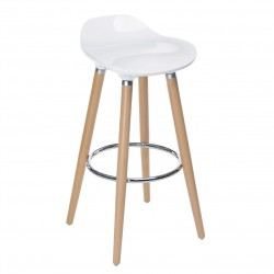 Tabouret de bar scandinave FILEL - Blanc