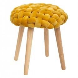Tabouret en tricot COSY'NESS - Jaune moutarde