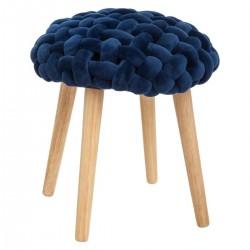 Tabouret en tricot COSY'NESS - Bleu foncé