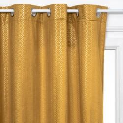 Rideau en velours motifs losange 260X140cm - Ocre