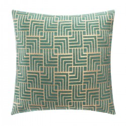 Housse de coussin en chenille motif géométrique 40X40cm - Vert et doré