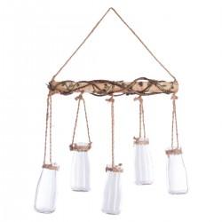 Soliflore 5 vases en verre à suspendre INTÉRIEUR NOMADE - Bois