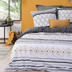 Parure de lit imprimé losange ÉTHNIQUE 240X220cm - Noir et blanc