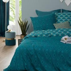 Parure de lit imprimé art déco 240X220cm - Vert foncé