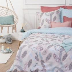 Parure de lit imprimé plume 240X220cm - Bleu et rose