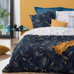 Parure de lit imprimé feuille 240X220cm - Bleu foncé et blanc