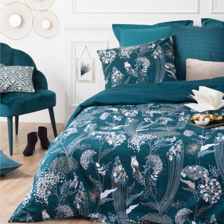 Parure de lit imprimé art déco paon 240X220cm - Bleu canard - Veo shop