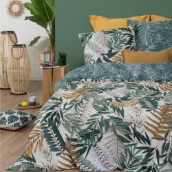 Parure de lit imprimé tropique 240X220cm - Vert et blanc
