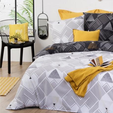 Parure de lit imprimé triangle GRAFIK 240X220cm - Noir et blanc