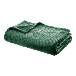 Plaid feuilles en flanelle 3D 125X150cm THE COLONIAL FACTORY - Vert