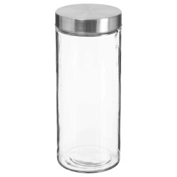 Bocal en verre et couvercle en inox 2L - Transparent