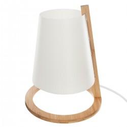 Lampe en bambou et abat-jour en plastique H26cm - Blanc